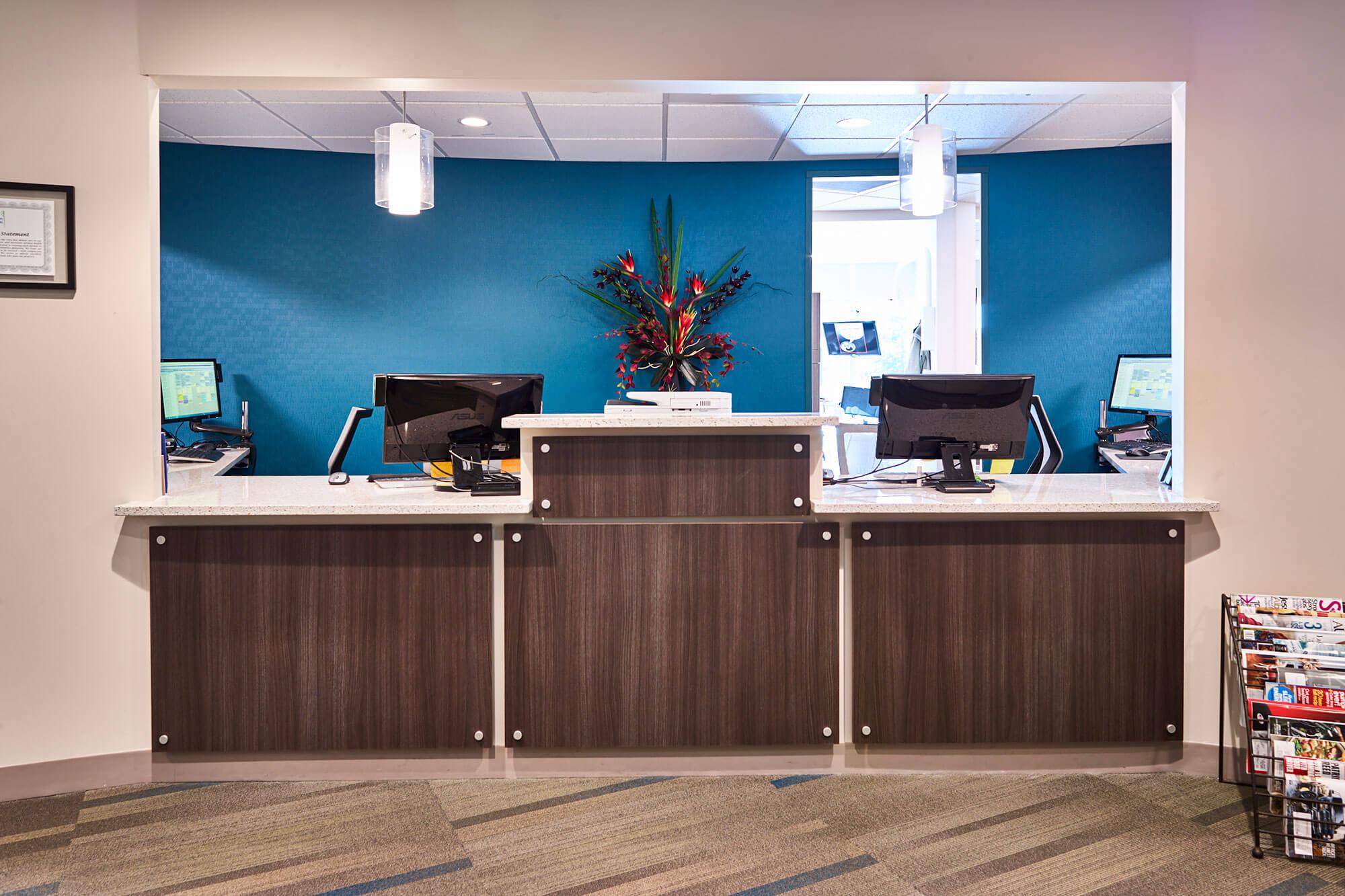 reception area of dental office